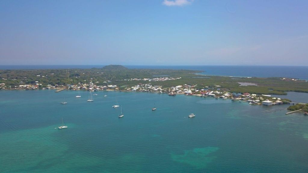 Bumfuzzle at anchor in Utila, Bay Islands, Honduras.